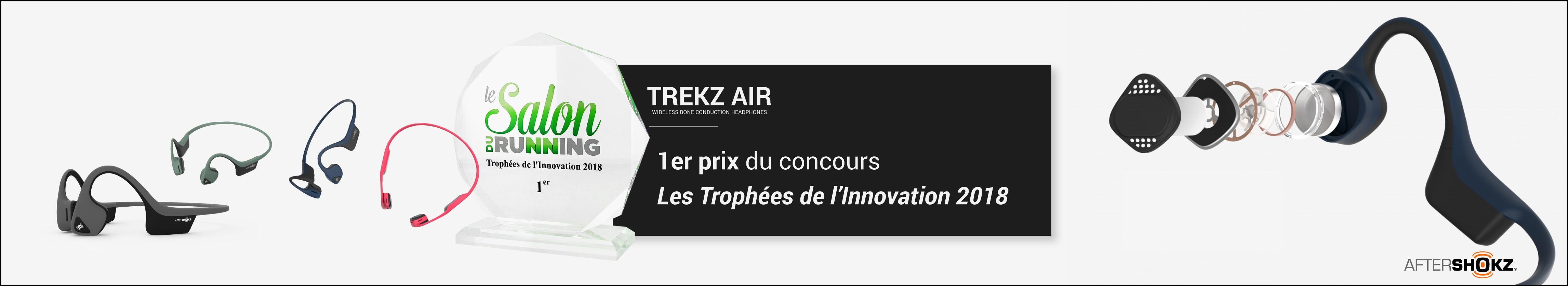 Casque audio à conduction osseuse TREKZ AIR de la marque AFTERSHOKZ obtient le 1er prix des Trophées de l'Innovation au Salon du Running 2018 ! Découvrez-le vite!