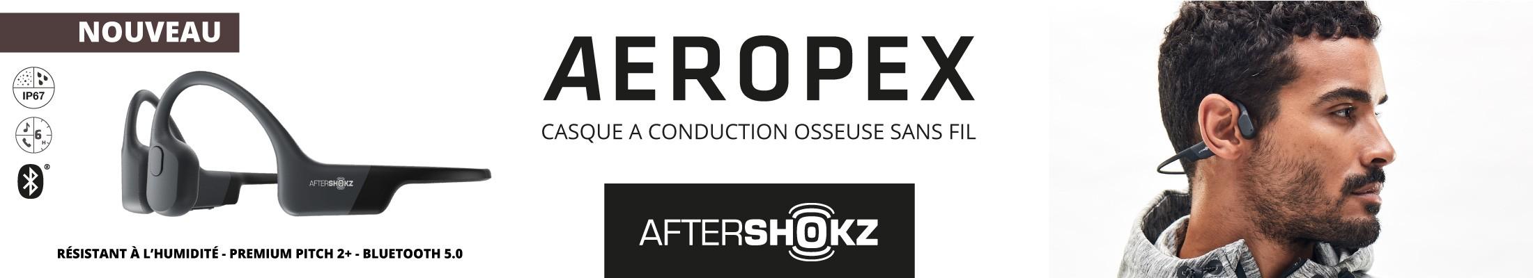 Découvrez le nouveau casque Bluetooth à conduction osseuse AEROPEX de la marque AFTERSHOKZ